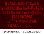 handrawn red font. gothic... | Shutterstock .eps vector #1222678420
