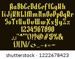 handrawn yellow font. gothic... | Shutterstock .eps vector #1222678423