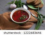 view from above ready soup to...   Shutterstock . vector #1222683646