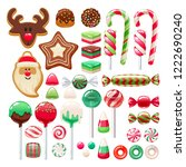 colorful christmas sweets set   ... | Shutterstock .eps vector #1222690240