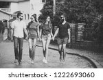 group of friends travel around... | Shutterstock . vector #1222693060