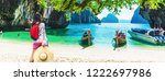 panorama traveler woman joy... | Shutterstock . vector #1222697986
