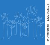 continuous one line hands with... | Shutterstock .eps vector #1222703176