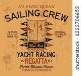 atlantic ocean sailing crew... | Shutterstock .eps vector #1222706653