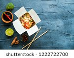 thai noodle in paper box with... | Shutterstock . vector #1222722700