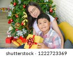 asian mother and son are happy... | Shutterstock . vector #1222723369