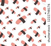 seamless pattern with sushi... | Shutterstock .eps vector #1222748176