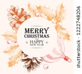 vector christmas card with... | Shutterstock .eps vector #1222748206