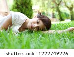 beautiful child girl laying on... | Shutterstock . vector #1222749226