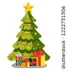 decorated christmas tree with... | Shutterstock .eps vector #1222751506