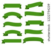 big green ribbons set white... | Shutterstock . vector #1222754239
