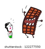 hand drawn chocolate and boy | Shutterstock .eps vector #122277550