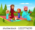 arabian family at picnic... | Shutterstock . vector #1222776250