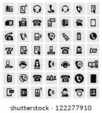 vector black phone icons set on ... | Shutterstock .eps vector #122277910