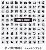 vector black hous icons set on... | Shutterstock .eps vector #122277916