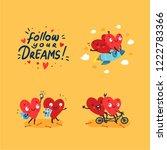 two happy hearts in love. cute... | Shutterstock .eps vector #1222783366