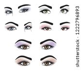female eyes of different colors ... | Shutterstock . vector #1222796893