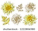 set of fluffy yellow dahlias...   Shutterstock .eps vector #1222806580