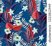 trendy fabric tropical seamless ... | Shutterstock .eps vector #1222812949