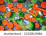 vegetables on the pan  healthy...   Shutterstock . vector #1222813486