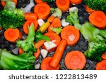 vegetables on the pan  healthy...   Shutterstock . vector #1222813489