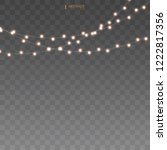 set of golden xmas glowing... | Shutterstock .eps vector #1222817356