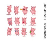 set of isolated funny pig in... | Shutterstock .eps vector #1222834009