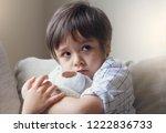 dramatic portrait of little boy ... | Shutterstock . vector #1222836733