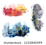 watercolor set with red  blue... | Shutterstock . vector #1222840399