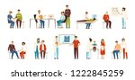 collection of people visiting... | Shutterstock .eps vector #1222845259