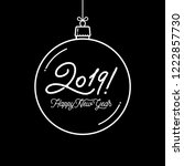 happy new year 2019 lettering... | Shutterstock .eps vector #1222857730