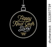 happy new year 2019 lettering... | Shutterstock .eps vector #1222857739