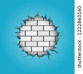 round hole in the blue bricks... | Shutterstock .eps vector #1222863160