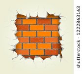 square hole in the red bricks... | Shutterstock .eps vector #1222863163