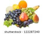Heap different fruits: grape, pear, banana, orange, lemon, apple, plum, blackberry - stock photo