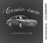 exotic cars showroom hand drawn ... | Shutterstock .eps vector #1222888489