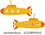 yellow submarine. two cartoon... | Shutterstock .eps vector #1222894543