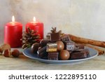 filled gingerbread cookies  in... | Shutterstock . vector #1222895110