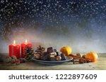 christmas cookies  tangerines ... | Shutterstock . vector #1222897609