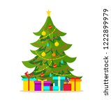 decorated christmas tree with... | Shutterstock .eps vector #1222899979