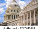 Stock photo sunny close up view of the architectural detail of the neo classical facade of the us capitol 1222901443