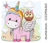 cute cartoon pink unicorn with... | Shutterstock .eps vector #1222906363