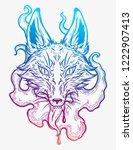 the head of a fox in smoke. ... | Shutterstock .eps vector #1222907413