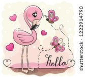 cute cartoon flamingo with... | Shutterstock .eps vector #1222914790