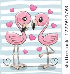 two cute cartoon flamingos on a ... | Shutterstock .eps vector #1222914793