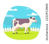 pasturing cow animal. rural... | Shutterstock .eps vector #1222915840