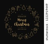 christmas greeting wreath icons ... | Shutterstock .eps vector #1222919449