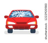 broken car windshield. accident ... | Shutterstock .eps vector #1222920583