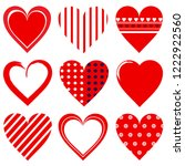 set of red love hearts isolated ...   Shutterstock .eps vector #1222922560
