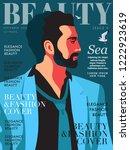 male model  portrait in profile.... | Shutterstock .eps vector #1222923619